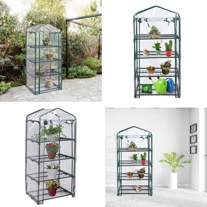 Amazon.com : Mini Invernadero Portátil al aire libre 4 estantes Green House Garden - A estrenar - Cubierta de plástico transparente - Para Interior o ...