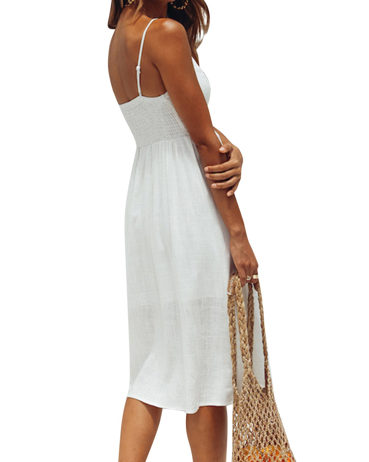 Jacansi Women Bohemian Sleeveless Backless Knee-Length Button up Midi Dress with Pocket White L by Jacansi (Image #4)