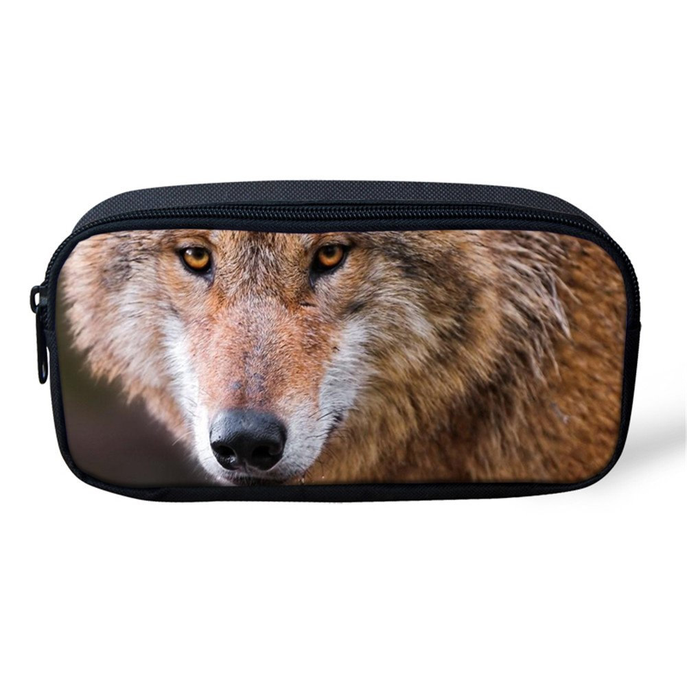 Coloranimal Student School Pencil Case Cool 3D Wolf Printed Pencil Pouch