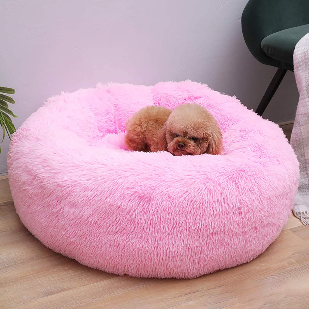 Waterproof Base Dog Sleeping Calming Bed Machine Washable Pink,M: 50x50cm Faux Fur Dog Beds for Medium Small Dogs Self Warming Indoor Round Pillow Cuddler Cave Anti-Slip Donut Dog Cat Bed