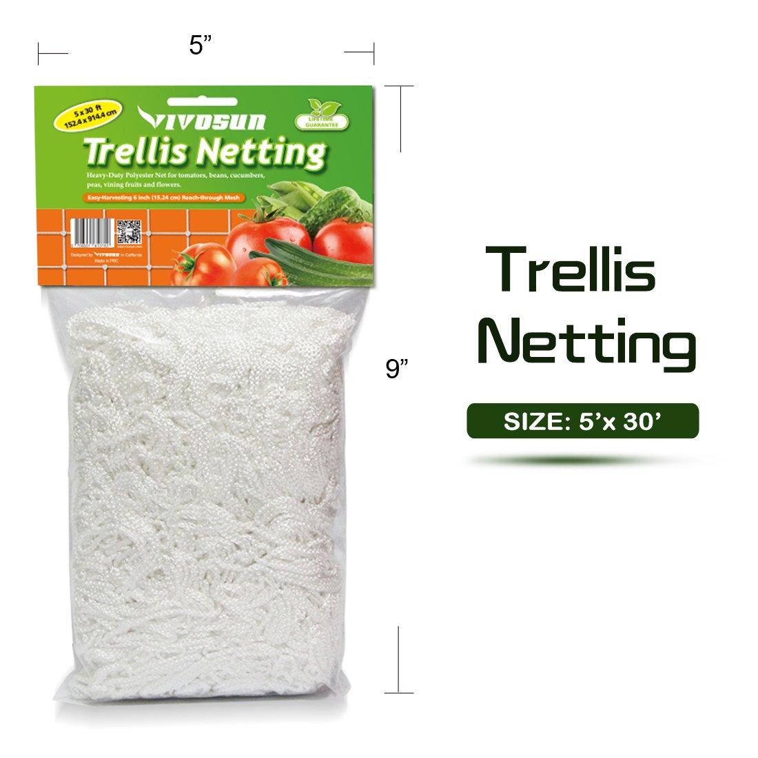 Amazon.com: VIVOSUN 5 x 30ft Heavy-duty Polyester Plant Trellis ...