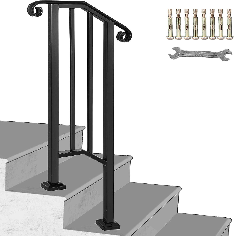 BuoQua Rampe dEscalier Garde-corps pour Escalier Main Courante Noire pour Escalier 4 /à 5 Marches