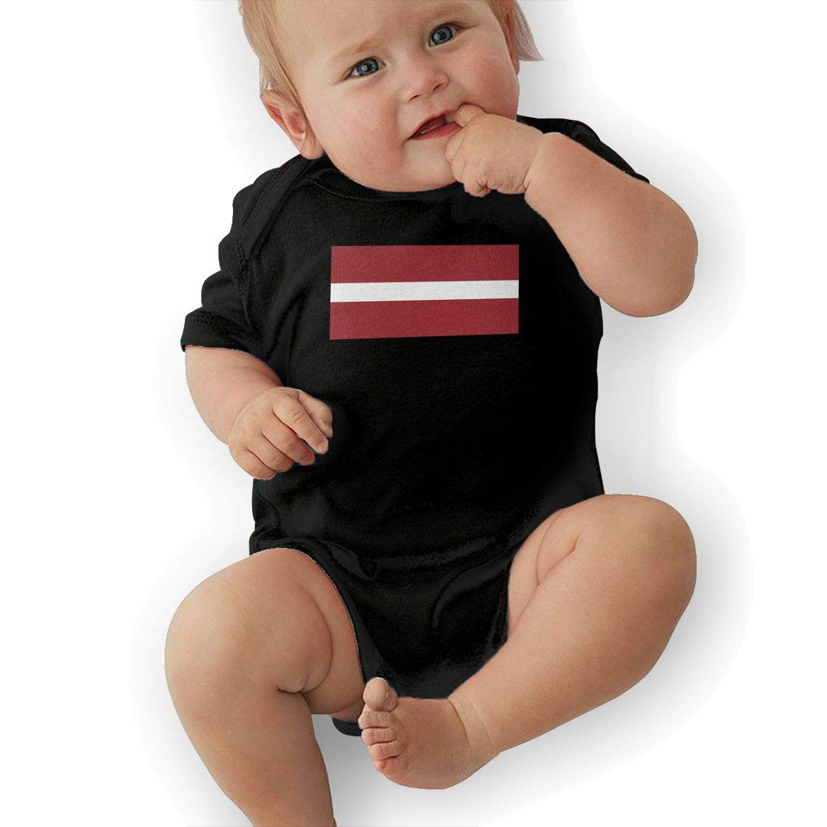 U88oi-8 Short Sleeve Cotton Rompers for Baby Girls Boys Soft Latvia Flag Playsuit