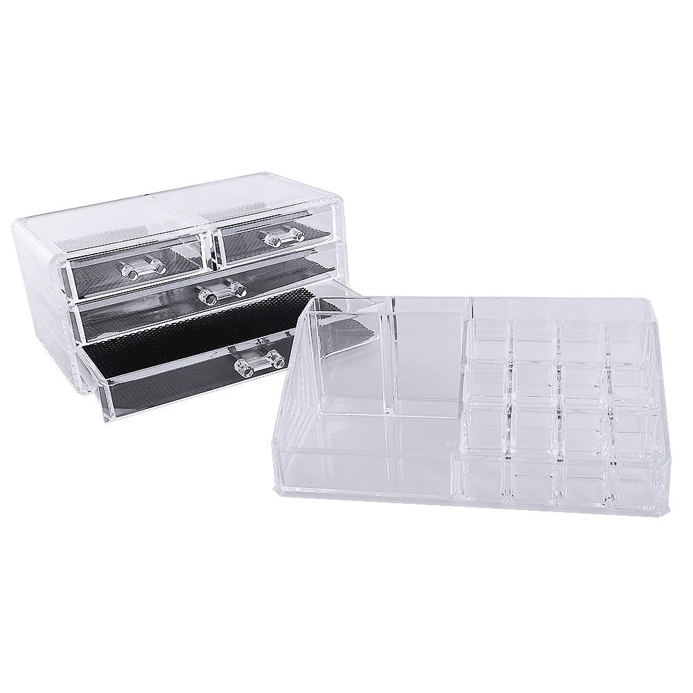 YAMMASTORE Multi-Check & 4 Drawers Integrated Acrylic Makeup Case Cosmetics Organizer Transparent