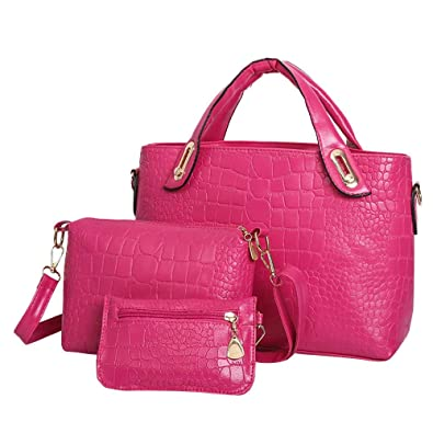 Amazon.com  Aelicy luxury 3 sets crocodile pattern casual tote bag new  design woman designer bags crossbody bags for women Color Hot Pink  Shoes 8ceab66a5fd2f