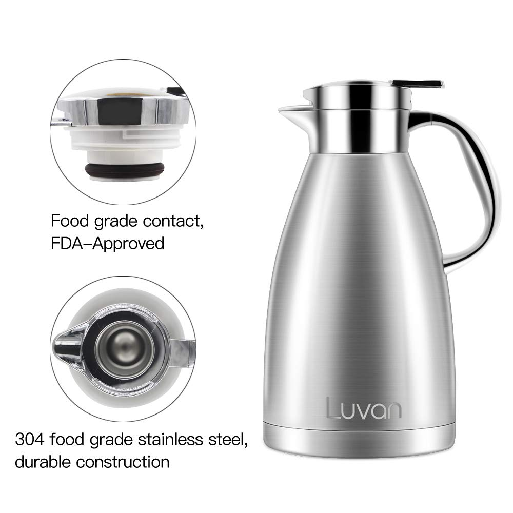 68 oz Hrs Heat/&Cold Retention,BPA Free,for Coffee,Tea,Beverage etc Luvan 68 oz 304 18//10 Food-grade Stainless Steel Thermal Carafe//Double Walled Vacuum Insulated Coffee Pot with Press Button Top,24