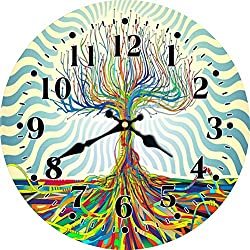 MEISTAR 14 Inch Large Wooden Wall Clock,Modern Abstract Style Colorful Tree Arabic Numerals Bedroom,Living Room Wall Clock,Battery Operated Wall Clock