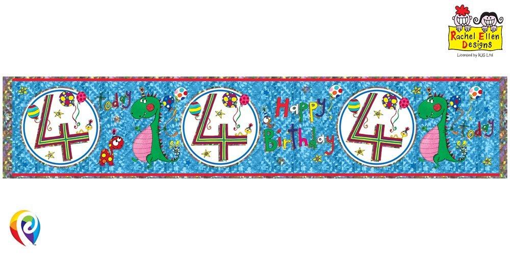 Age 4/4th Birthday Happy Birthday Dinosaur Foil Banner - Rachel Ellen Designed by Rachel Ellen Balloons & Party Qualatex