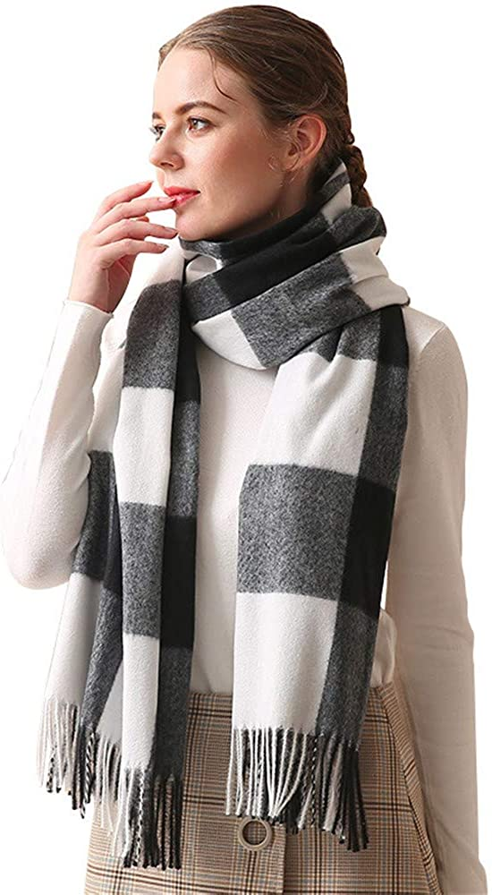 Scarf for Women,Winter Thick Warm Oversized Tassel Plaid Striped Blanket Shawls and Wraps Scarve,200x70cm