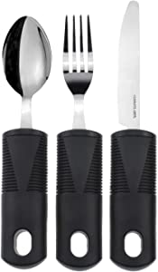 Vive Adaptive Utensil Set - Arthritis Aid Silverware for Parkinsons, Hand Tremors - Easy Grip for Shaking and Trembling Hands - Heavy Stainless Steel Spoon, Fork, Serrated Knife - Non Weighted Holder
