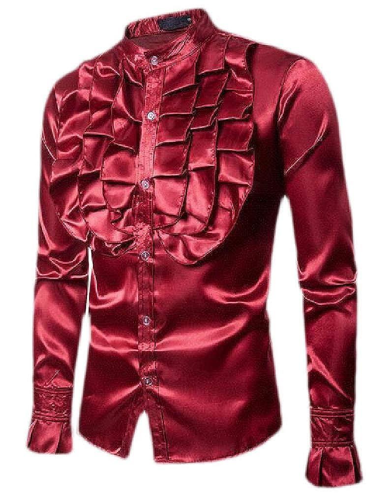 Joe Wenko Mens Ruffle Casual Button Up Slim Fit Long-Sleeve Band Collar Shirts