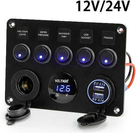 12-24V Blau LED 6 Gang Schaltpanel Schalter Schalttafel Voltmeter+USB Ladegerät