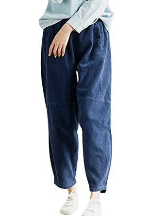 Youlee Mujeres Baja Entrepierna Pantalones de Pana Algodón Pantalones Harem Blue: Amazon.es: Ropa y accesorios