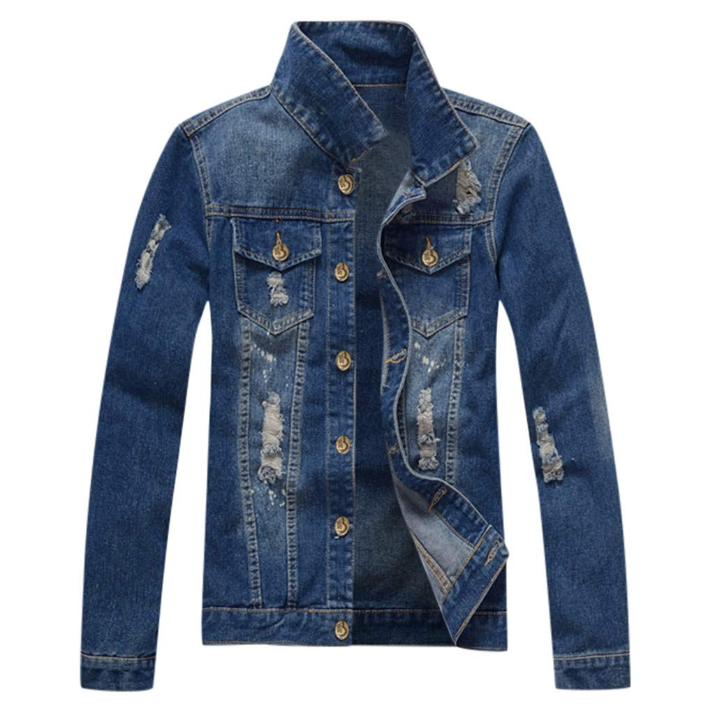 Rawdah_Hombre Chaqueta de Jeans Vintage Clásica Chaqueta Denim ...