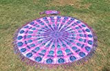 Tassel Fringe Roundie Tie Dye Mandala Beach Throw, Round Mandala Sheet, Tassel Fringes Mandala, Meditation Yoga Mat with Beautiful Carry Bag