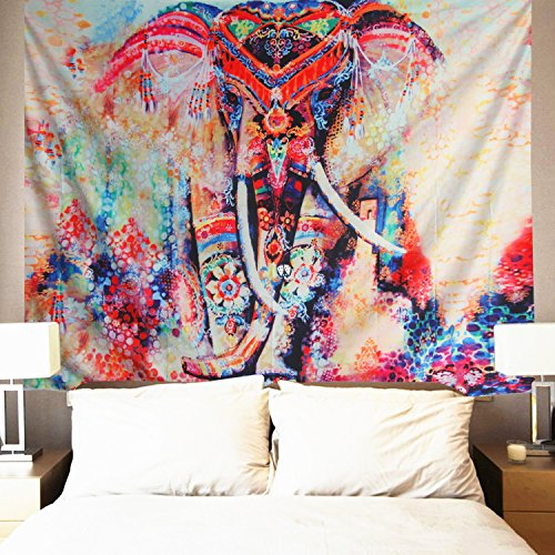 Watercolor Elephant Tapestry Wall Hanging Mandala Tapestry Bohemian Tapestry Psychedelic Wall Tapestry Flower Psychedelic Tapestry for Indian Dorm Decor - Water Wall Tapestry