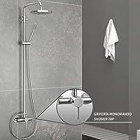 Aqualy - Columna para ducha con grifería sistema con altura regulable conjunto de ducha y bañera.