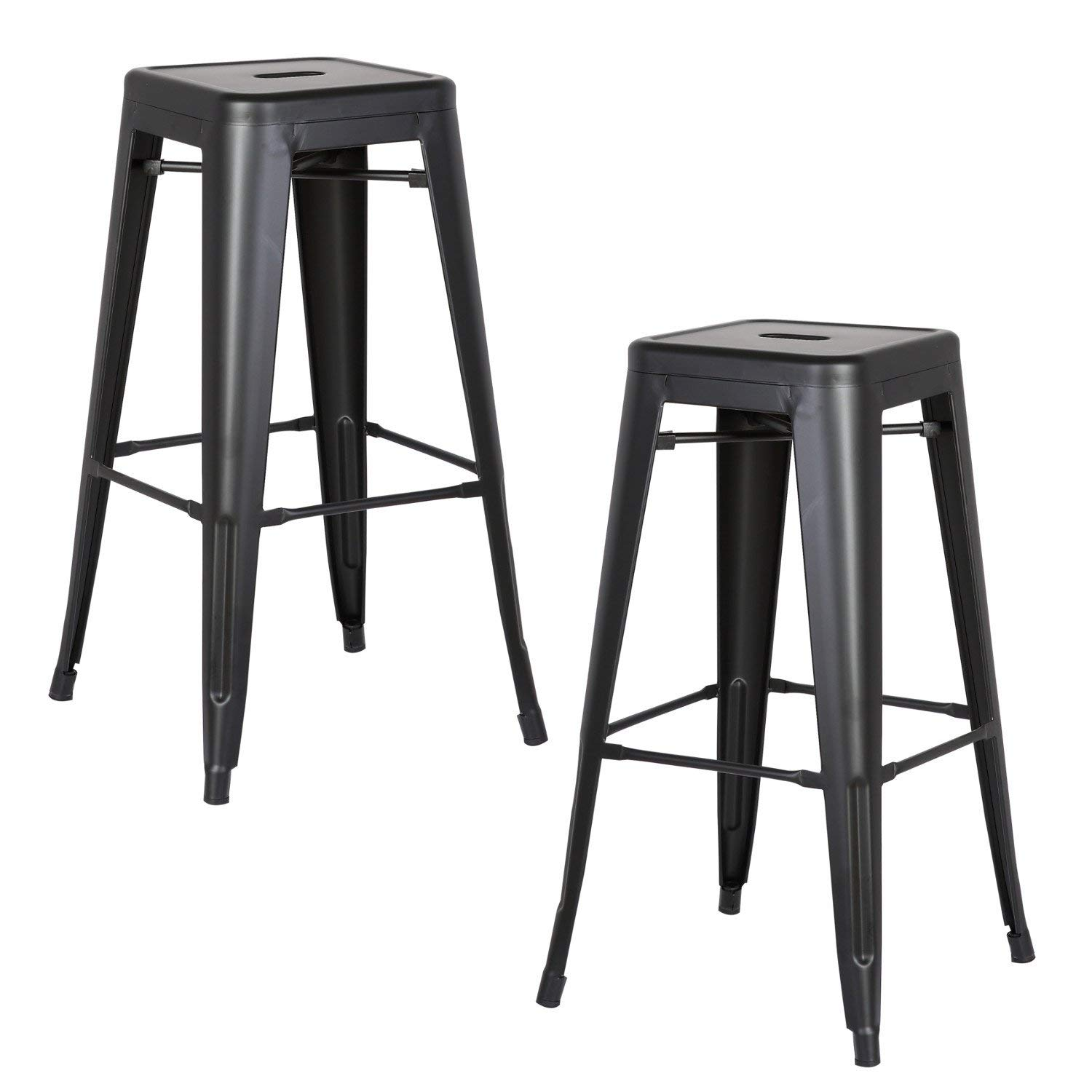 Matte Black 30  Seat AC Pacific Modern Backless Light Weight Industrial Metal Barstool 4 Leg Design, 30  Seat Bar Stools (Set of 2), Distressed White Finish
