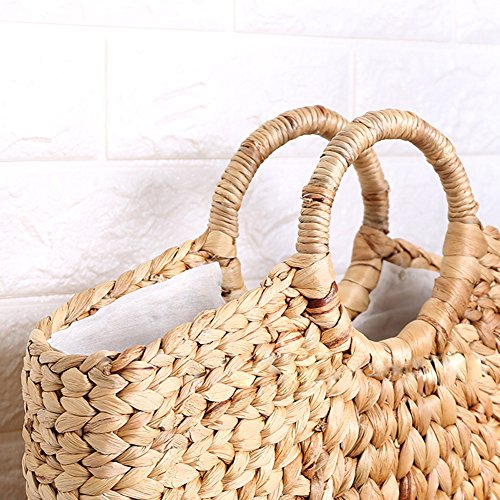 with Beach Yunt white and Summer Women zipper Fashion Natural Baskets Shopping Bag Handbag Straw liner Handmade cWr7P4pcH