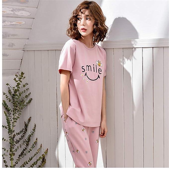 Meaeo Las Mujeres De Algodón Girls Smile Bee Set De Pijama De Manga Corta De Cintura