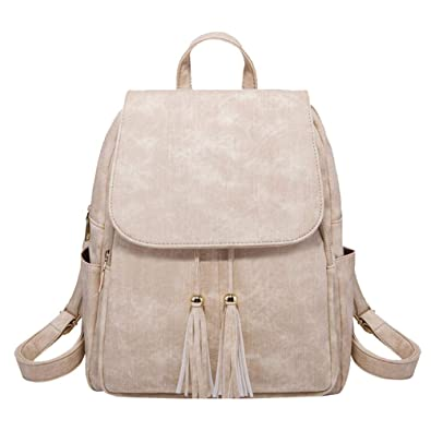 c1bc57aa8bea YuanDian Women Leather Backpack Soft Casual Tassel Shoulder Bag Ladies  Girls School Bags PU Travel Rucksack