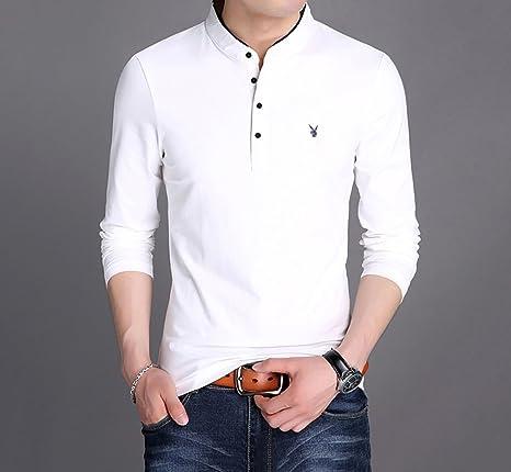 15c854eebbc9 FeN Magliette da uomo a maniche lunghe colletto in piedi personalità  collant Primavera Solido colorato versione