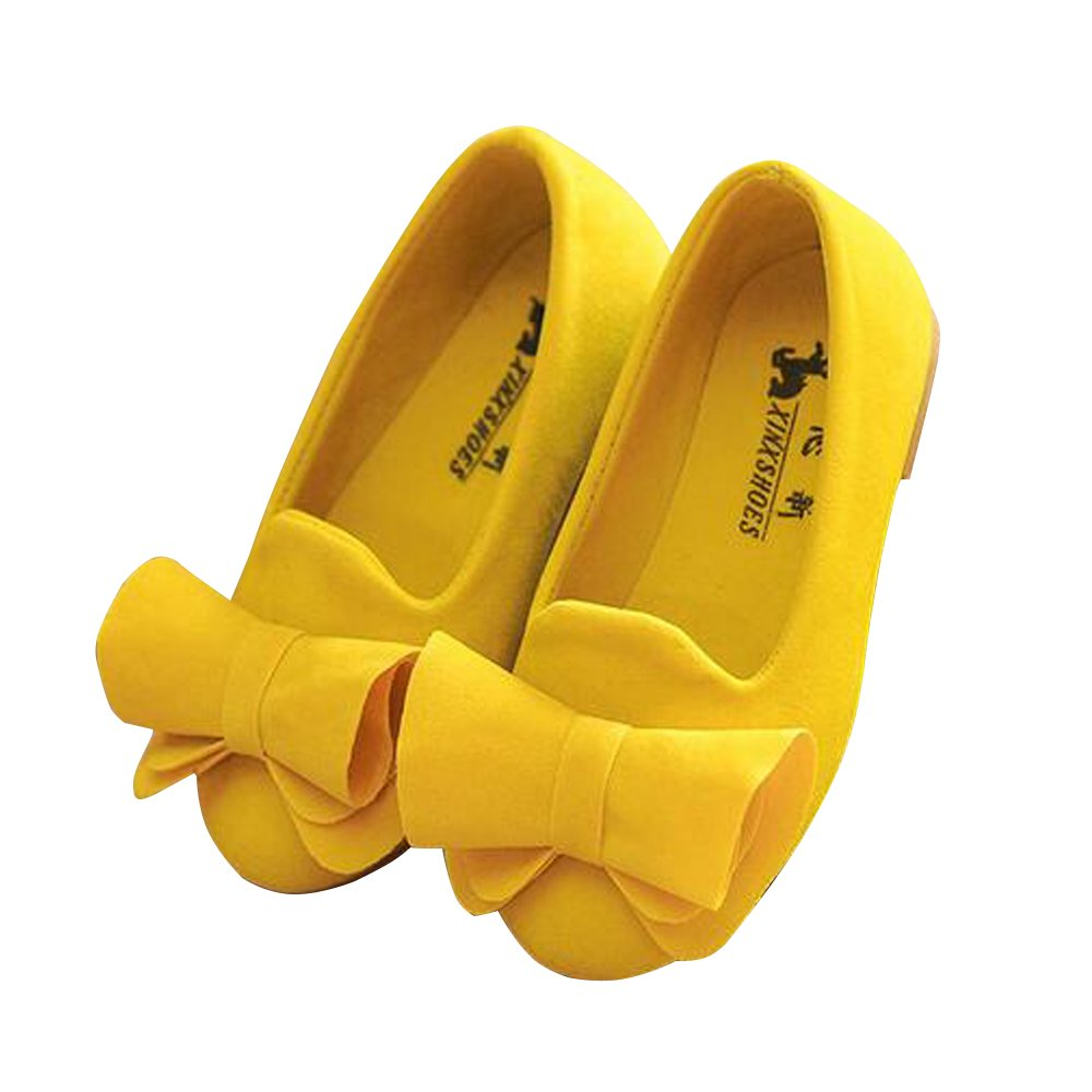 BININBOX Girls Bowknot Flat Shoes Princess Girls Dress Shoes Kids (6 M US Toddler, Yellow)