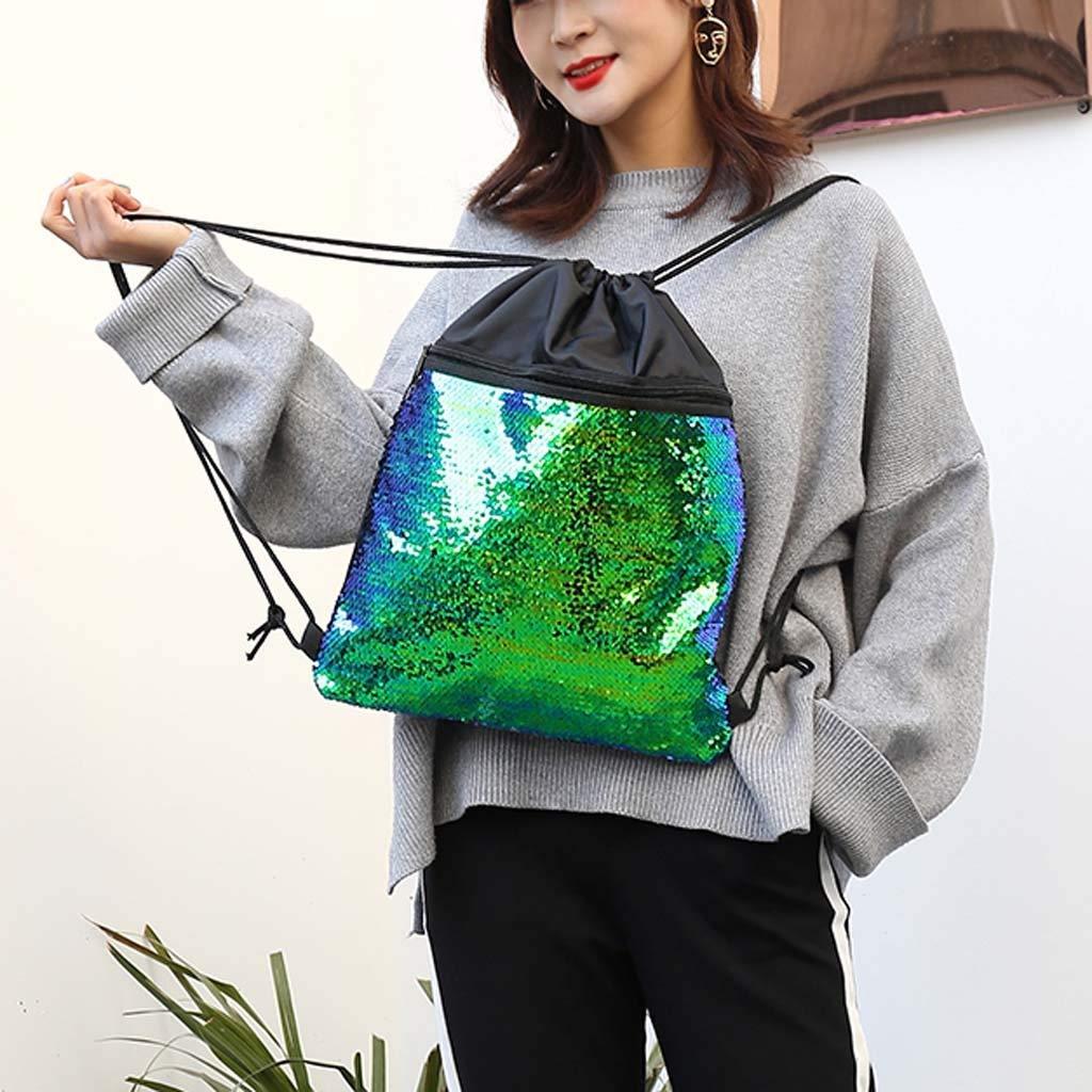 Beach Bag Outdoor Fitness Bag Sequins Bunch Pocket Female Drawstring Backpack Backpack for Women Men Waterproof by Letdown (Image #4)