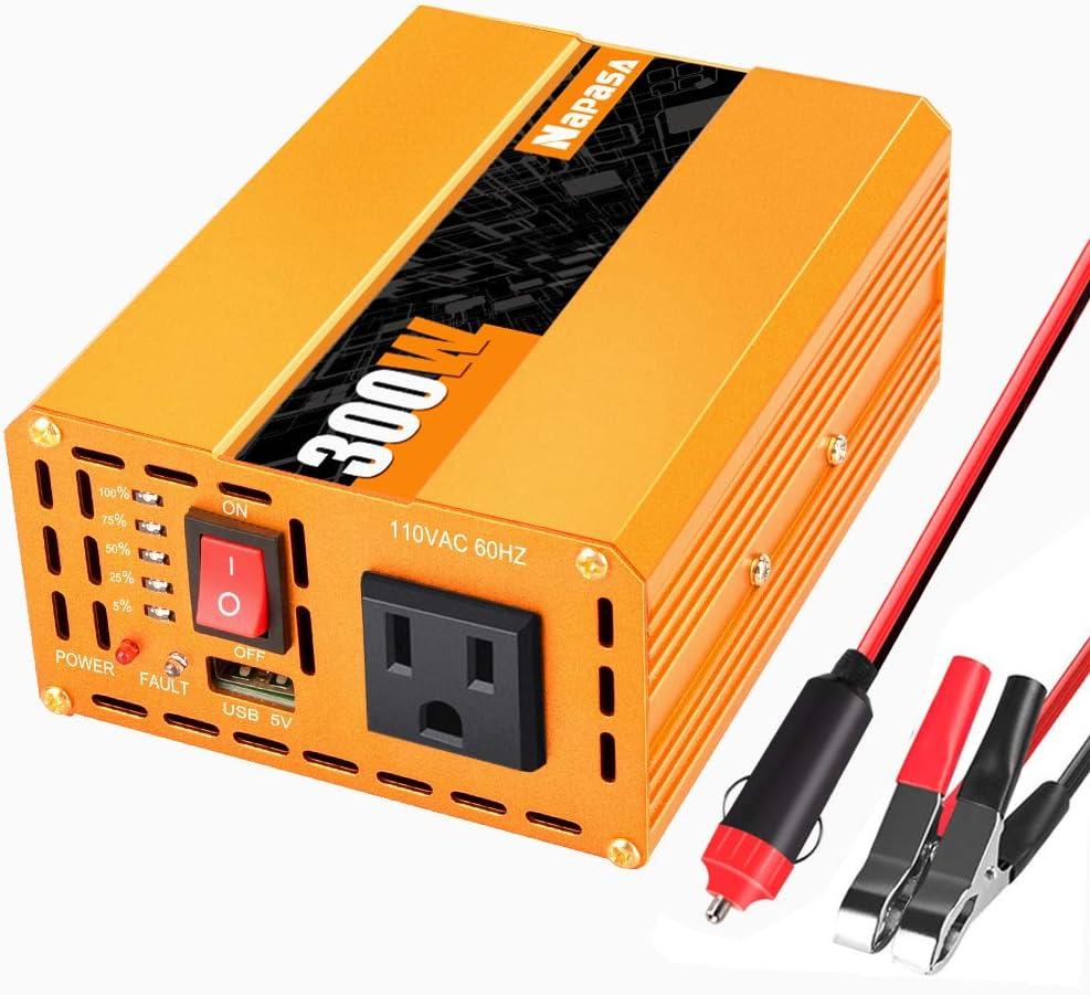 Power Inverter 300Watt DC 12V to AC 110V Converter Car Plug Adapter Outlet Charger Car Power Converter for Camping Outdoor Indoor Household Power Supply
