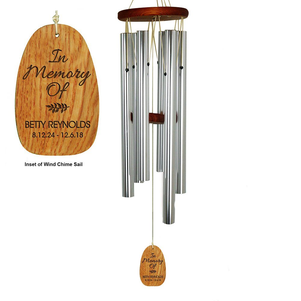 GiftsForYouNow In Loving Memory Personalized Wind Chime, 25'', Aluminum Tube