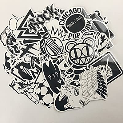 XONOR 120PCS Black White Vinyl Sticker Graffiti Decal Perfect to Laptops, Skateboards, Luggage, Cars, Bumpers, Bikes, Motorcycle, Helmet, Window, Guitar, Snowboard, Cellphone: Kitchen & Dining