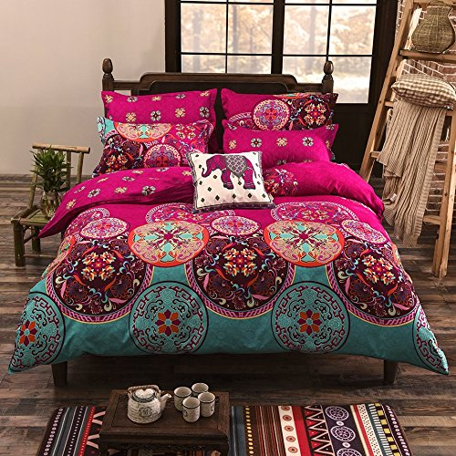 Duvet Cover Set, Bohemia Exotic Patterns Design, Bright Pink - King Size