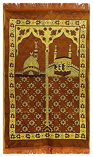 DollsofIndia Brown Velvet Islamic Namaz Mat - 48 x 28 inches (RI68) by DollsofIndia
