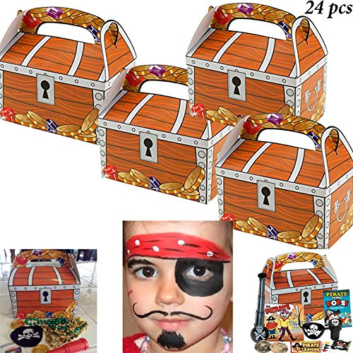 Adorox 24 Pack Treasure Chest Treat Boxes Pirate Birthday Party Favor Goodies