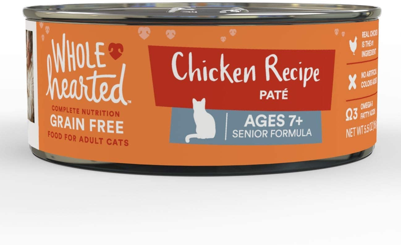WholeHearted Grain Free Chicken Recipe Pate Senior Wet Cat Food, 5.5 oz., Case of 24, 24 X 5.5 OZ