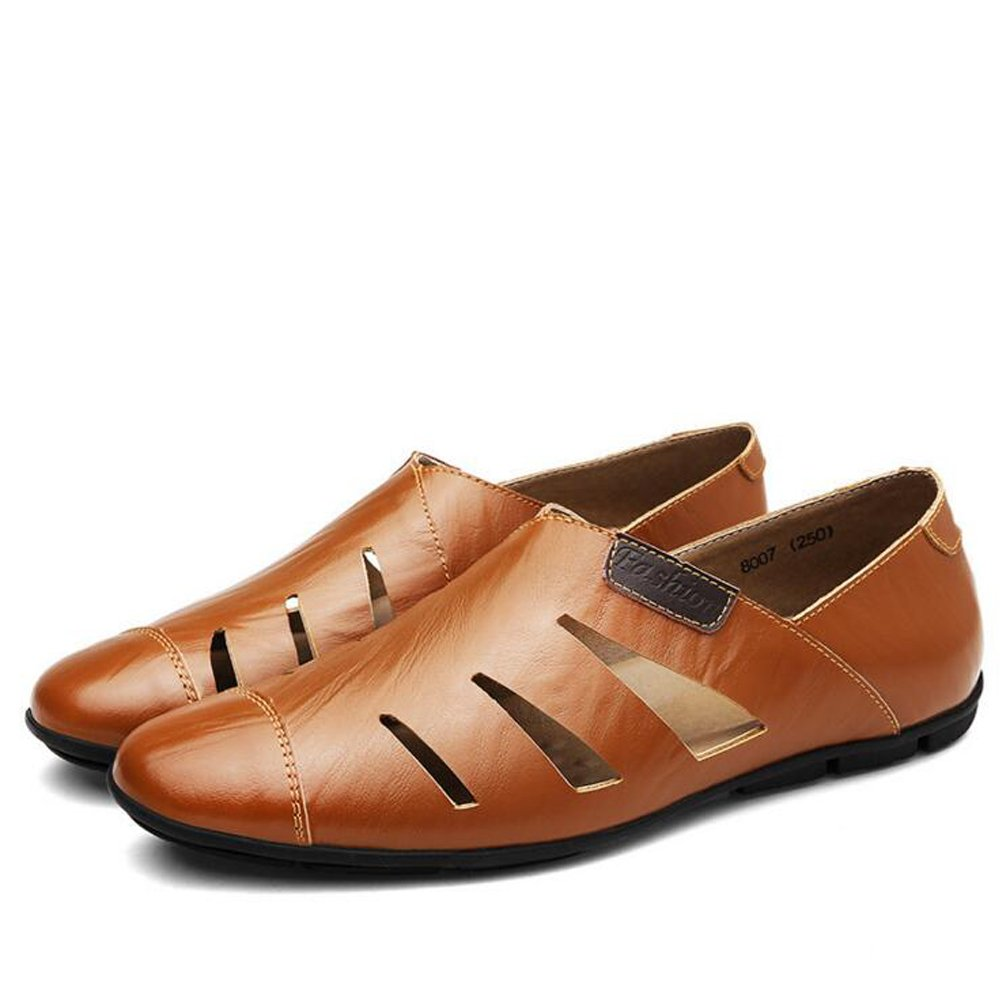 LXMEI Sandalias para Hombre de Calle, Tamaño Grande, Zapatos de Piel, Zapatos de Playa, Zapatos Informales de Tamaño Grande, Tallas 36 a 40, Single Shoes Brown, 41 EU 41 EU|Single shoes brown