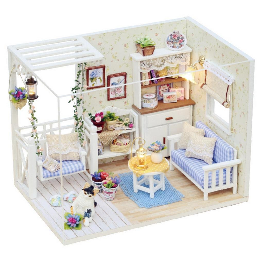 huichang Warm DIY 3D Dollhouse Paper Miniature Furniture Kit LED Light Kids Girls Gift