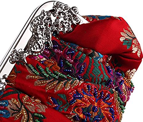 Vintage Jewels Beaded Floral Embroidered Evening Clutch 2017 Sparkly Ball Clasp Metal Top Hand Bag
