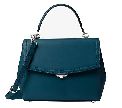 d9105c8d9df149 Amazon.com: Michael Kors Ava Medium Leather Satchel Purse (Luxe Teal):  Clothing