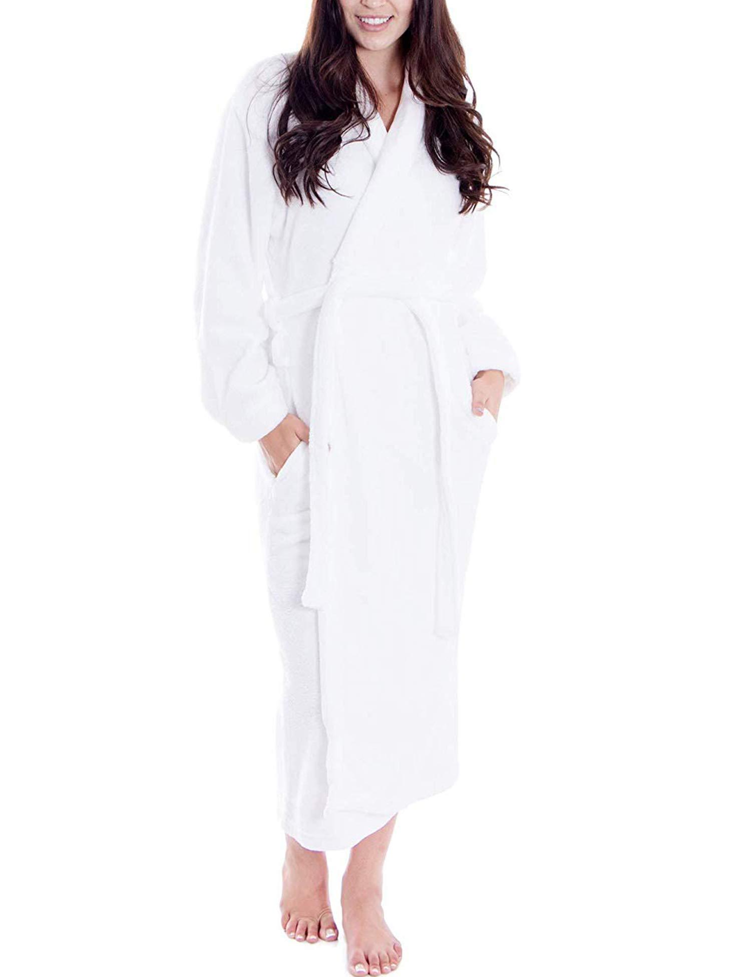 wearella Kimono Bathrobes for Women Spa Robes Unisex Organic Cotton Bathrobe Womens Loungewear Sleepwear White M