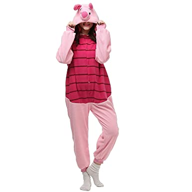 747f1063b1e6 Amazon.com  Piglet Onesies Unisex Costume Adult Animal Cosplay Pajamas  Clothing  Clothing