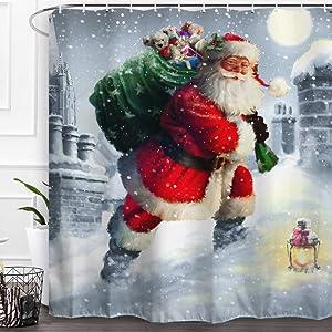 Baccessor Santa Claus Shower Curtain Merry Christmas Winter Holiday New Year Xmas Bathroom Decor Shower Curtain Fabric Bath Curtain 60