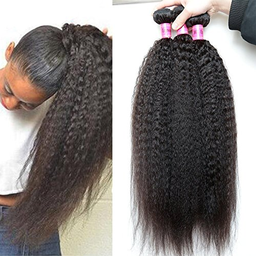 XiaoYuan Brazilian Yaki Straight Hair 3 Bundles 8a 100% Unprocessed Virgin Human Hair Extensions,Natural Color (100+/-5g)/pc (12
