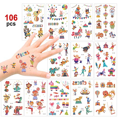 Konsait Kids Tattoos Big Top/Circus Temporary Tattoos Carnival Sticker for Boys Girls Children's Birthday Party Bag Filler Gift Idea Party Favors, 106 Pcs Clown Animal Kids Tattoos (Best Knuckle Tattoo Ideas)