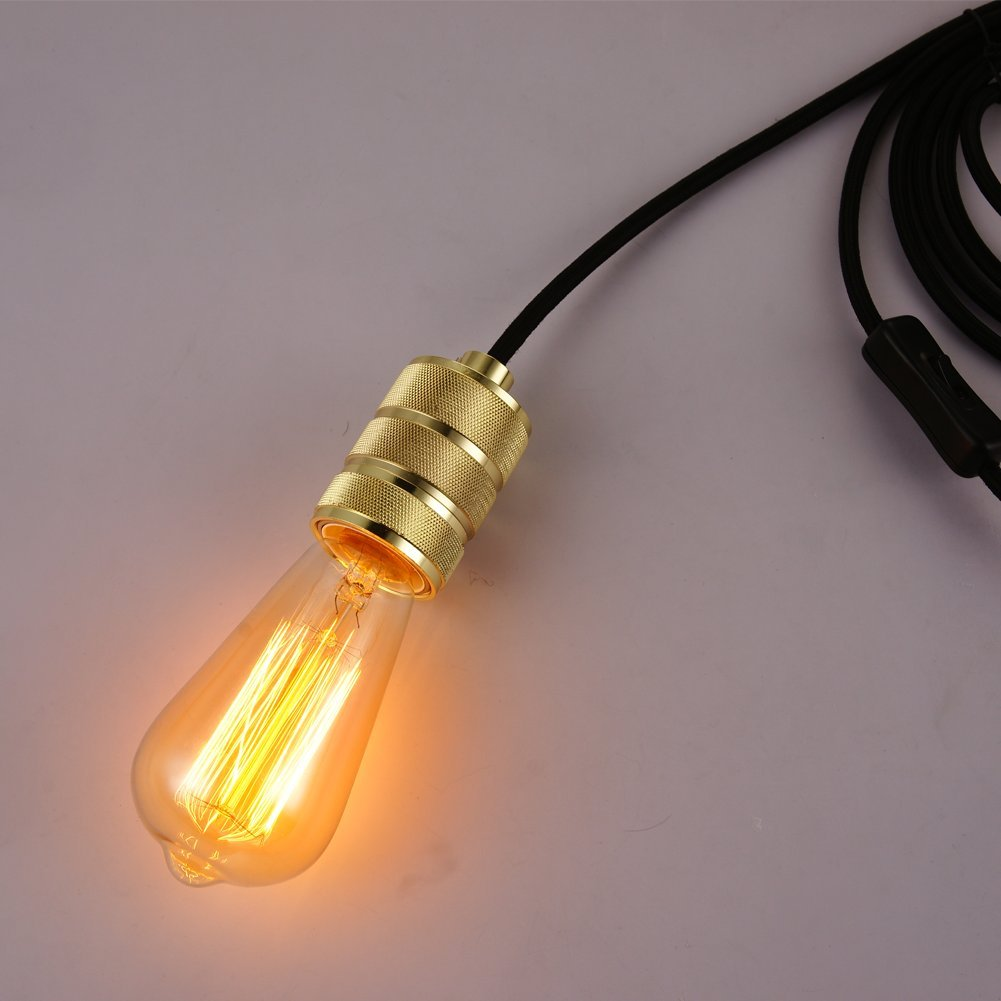 Onepre 3 Meters Of Core Gold Fabric Cable Plug In Pendant Lighting Switch Light Fitting Kit