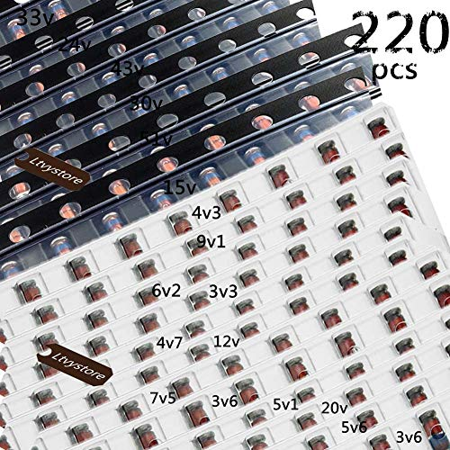 Ltvystore 220PCS 1206 SMD Zener Diode Kit Assortment LL34 0.5W 1/2W 3V-51V 22 Models Each of The 10PCS - Model Kit Assortment