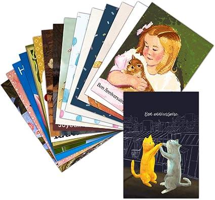Carte Anniversaire Avec Des Chats Lot De 16 Cartes Differentes Format Carte Non Pliee 3 Formats Dispos Mignonne Carte Anniversaire Avec Des Chats Amazon Fr Fournitures De Bureau