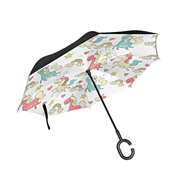 BENNIGIRY Paraguas Exterior Negro de Unicornio de Color UV antiniebla Ligera Elegante Reverso 3 Gotas Plegable