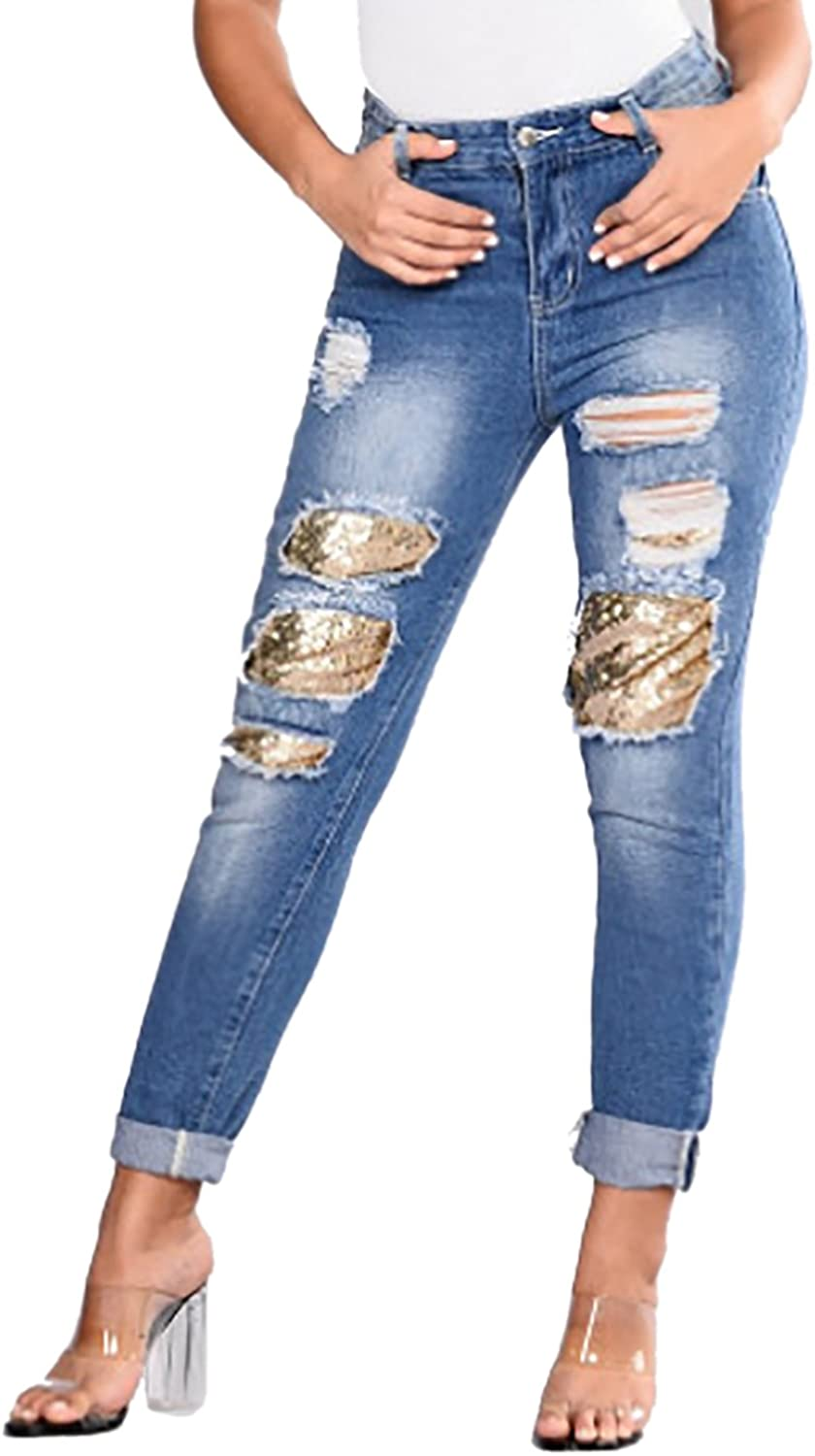 Blue Distressed Ripped Jeans For Women