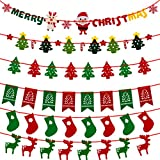 Biubee 6 - set (63 pcs) Christmas Decoration Banners -Christmas Flags- Christmas Trees, Elks, Socks, Santa Clause & Letters Decorations For Home & Courtyard Decorate